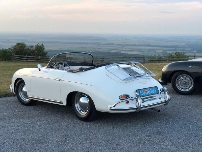 Porsche 356 in weiß von hinten